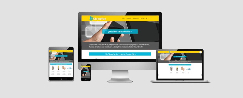 Online Shop Cleanpac.ch erstellt von MehrWeb GmbH - MehrWeb.ch